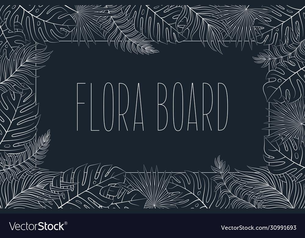 Tropical natural original frame exotic leaves