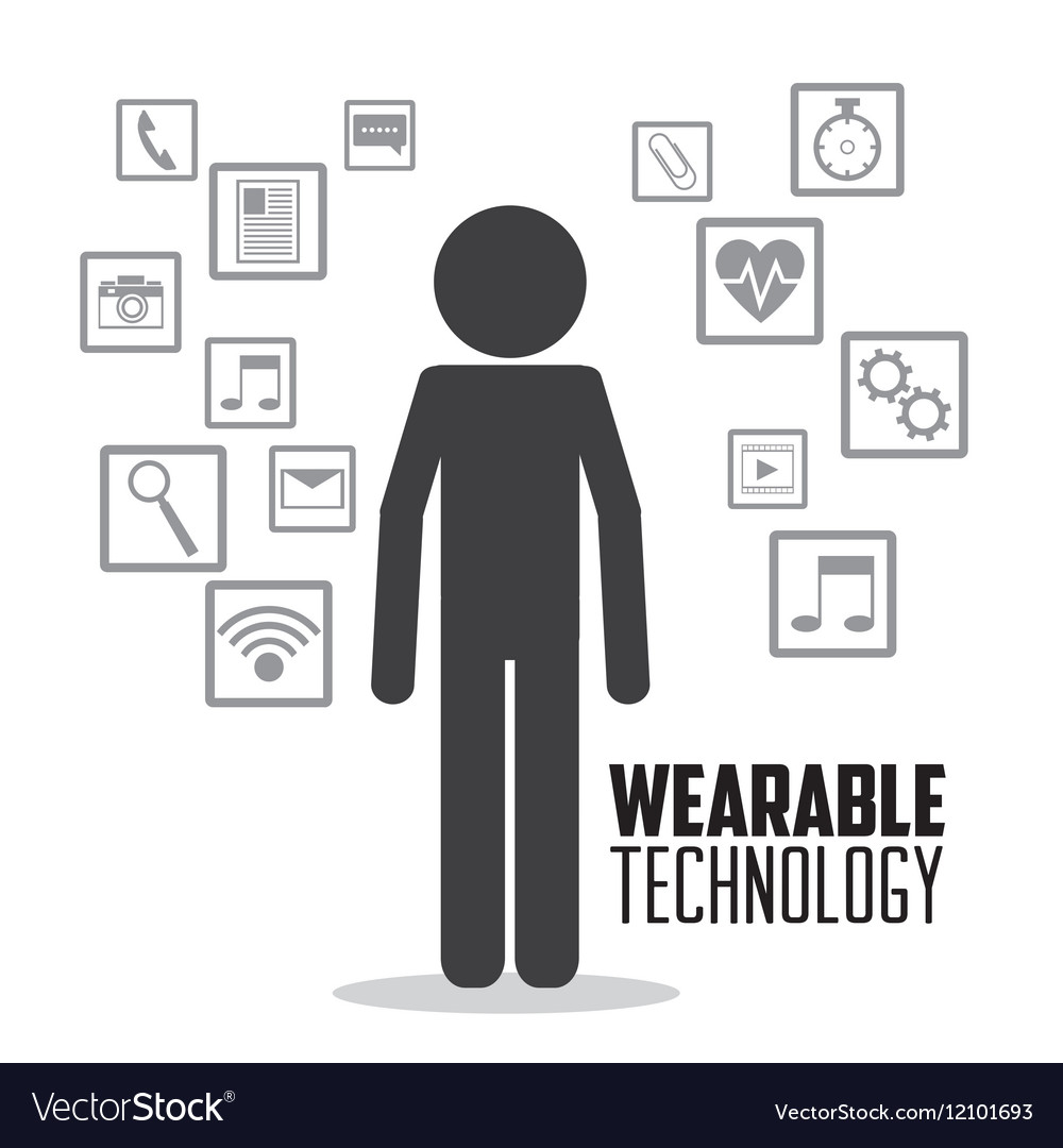 Wearable technology person media icons
