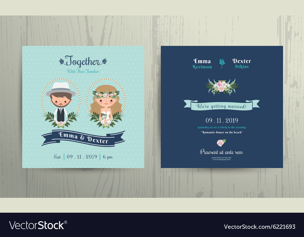Wedding Invitation Card Beach Theme Cartoon Couple