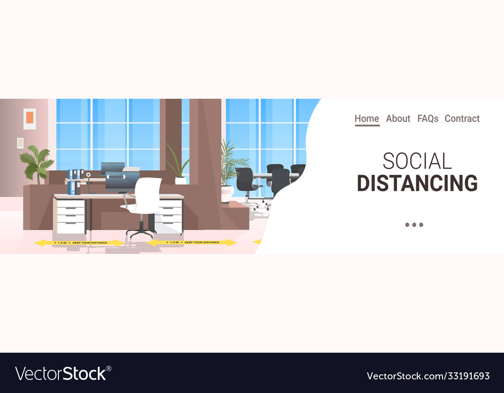 Workplace desk with yellow arrow sign for social
