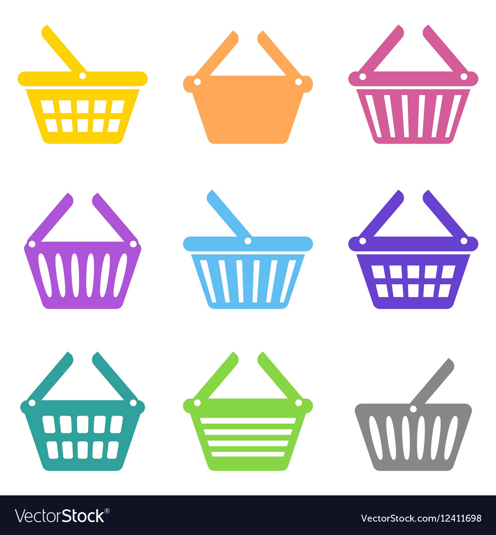 Colorful shopping basket icons vector image