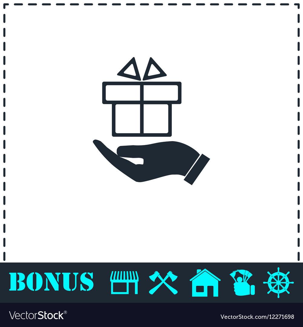 Gift present icon flat vector image