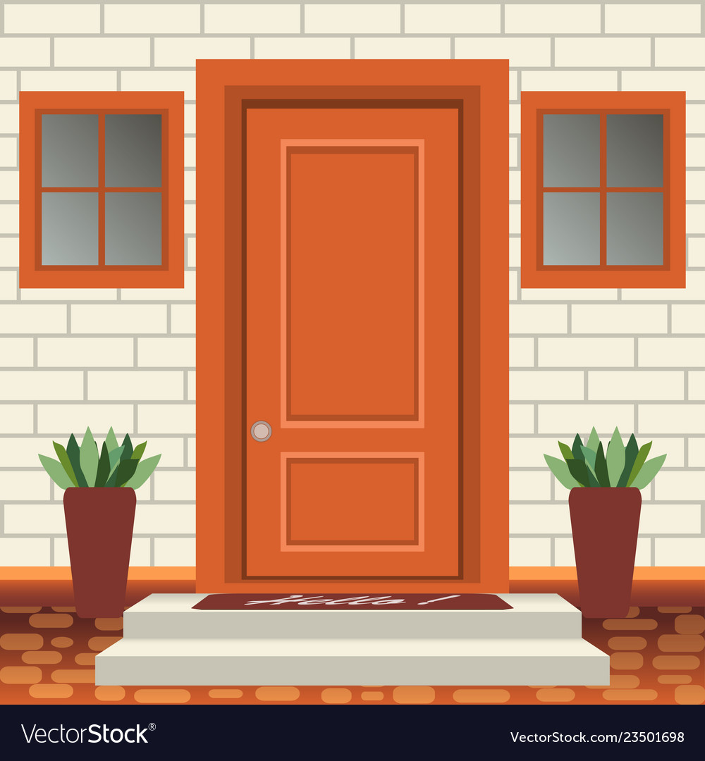 House door front with doorstep and steps lamp Vector Image