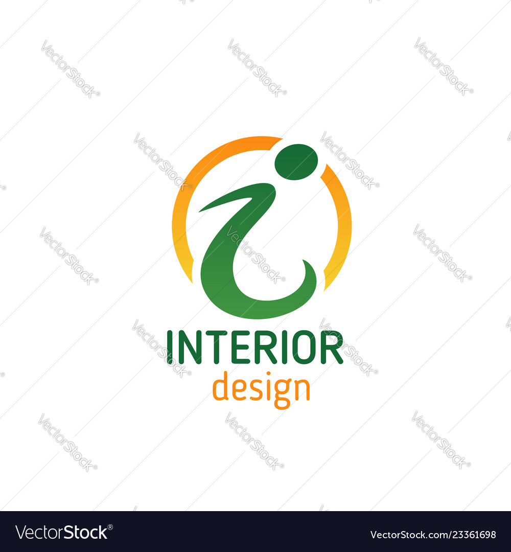 Interior Design Emblem For Business Card Template Vector Image