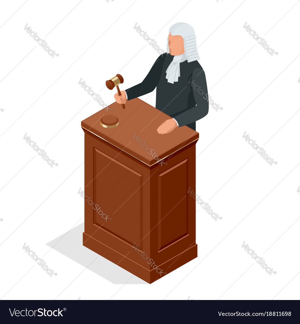 Isometric male judge in a wig with a hammer law