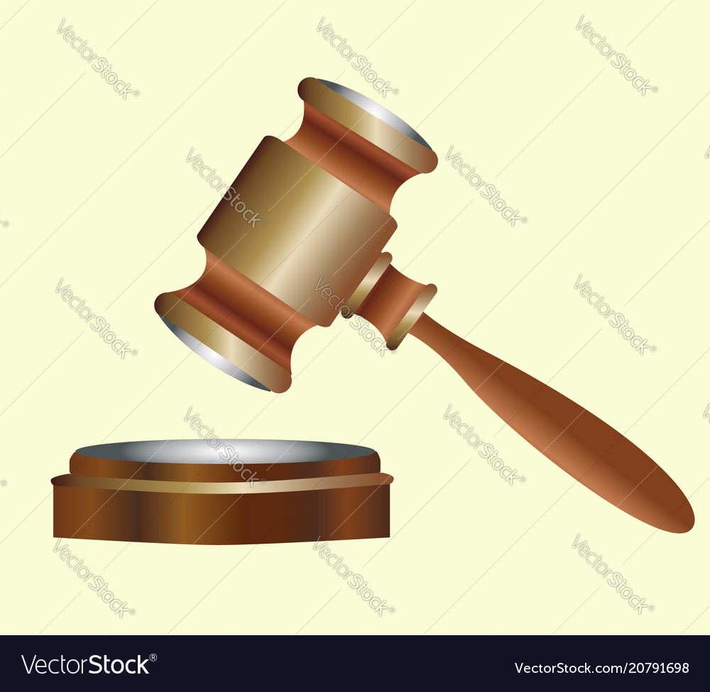 Judges wooden gavel with metal inserts vector image