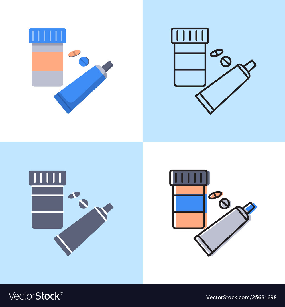 Medication icon set in flat and line style