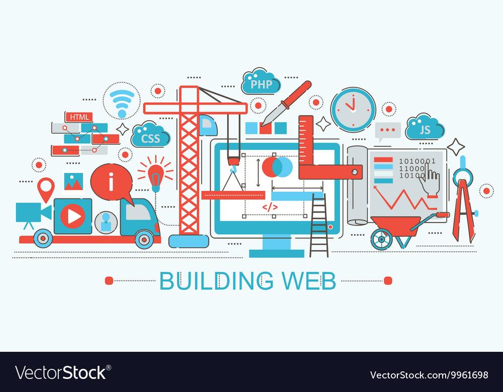 Modern Flat thin Line design Website building