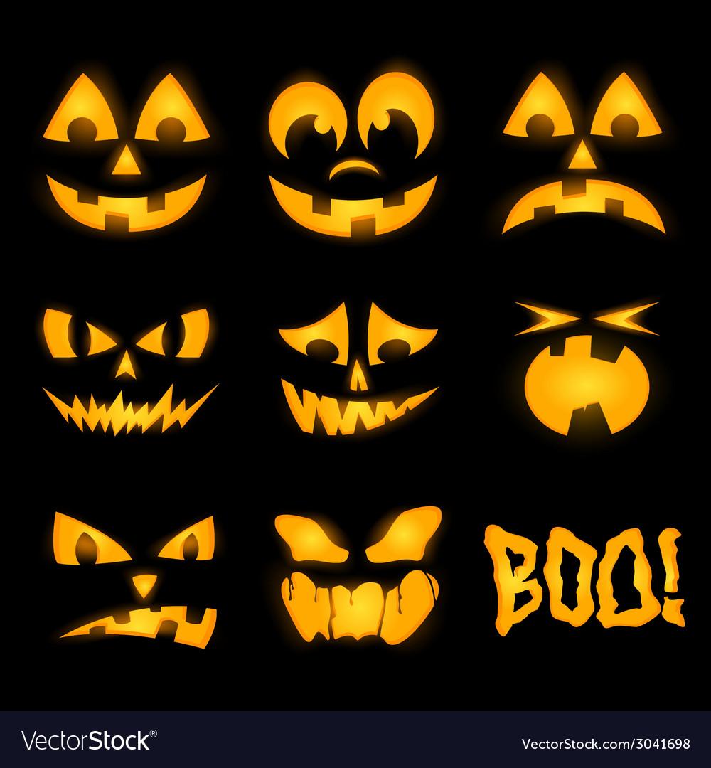 Orange halloween lighting pumpkin faces emotions