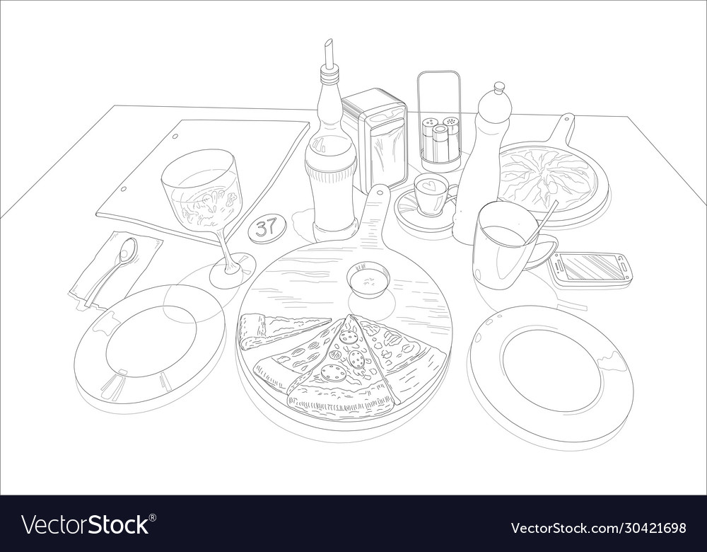 Pizza on a served table linear drawing