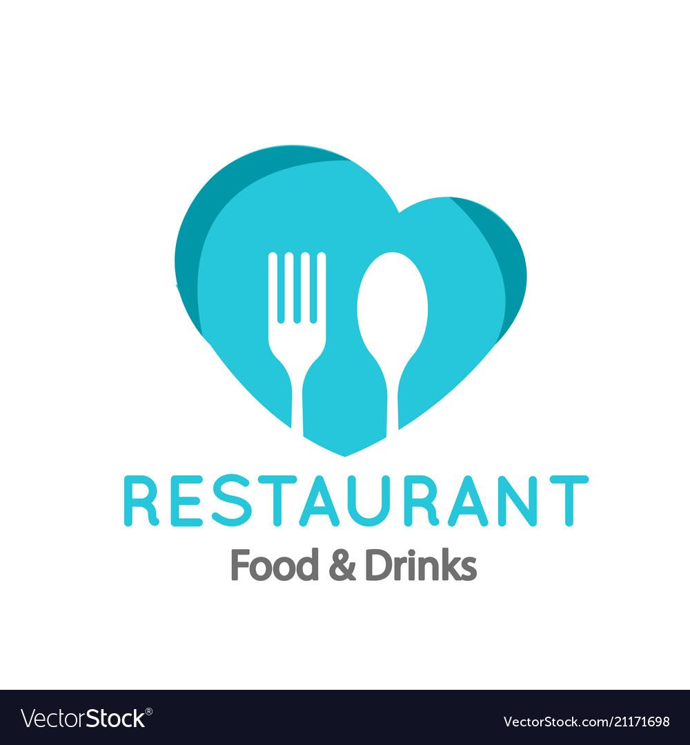 Restaurant food drinks logo fork spoon heart fra