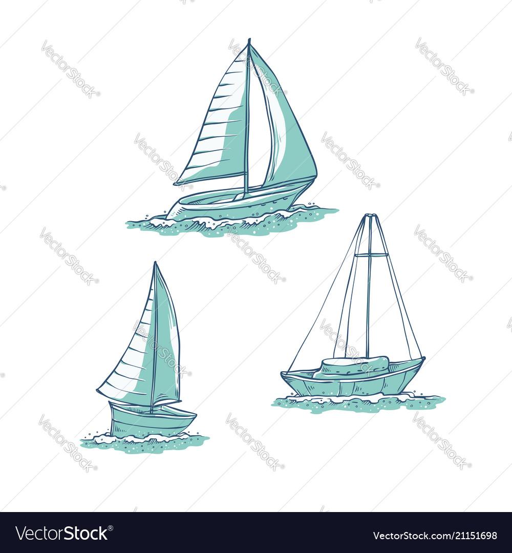 Set sailing yachts on sea waves water