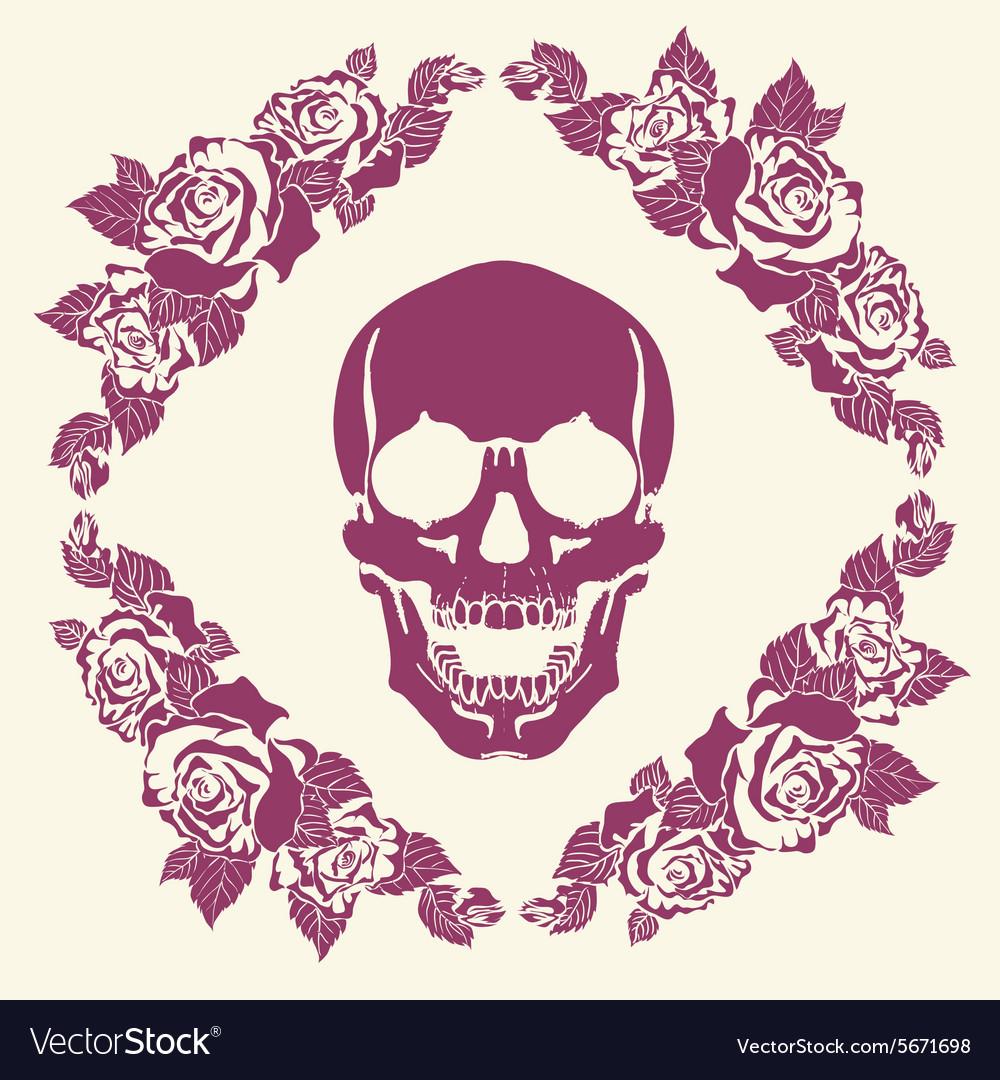 Skull in the frame of roses