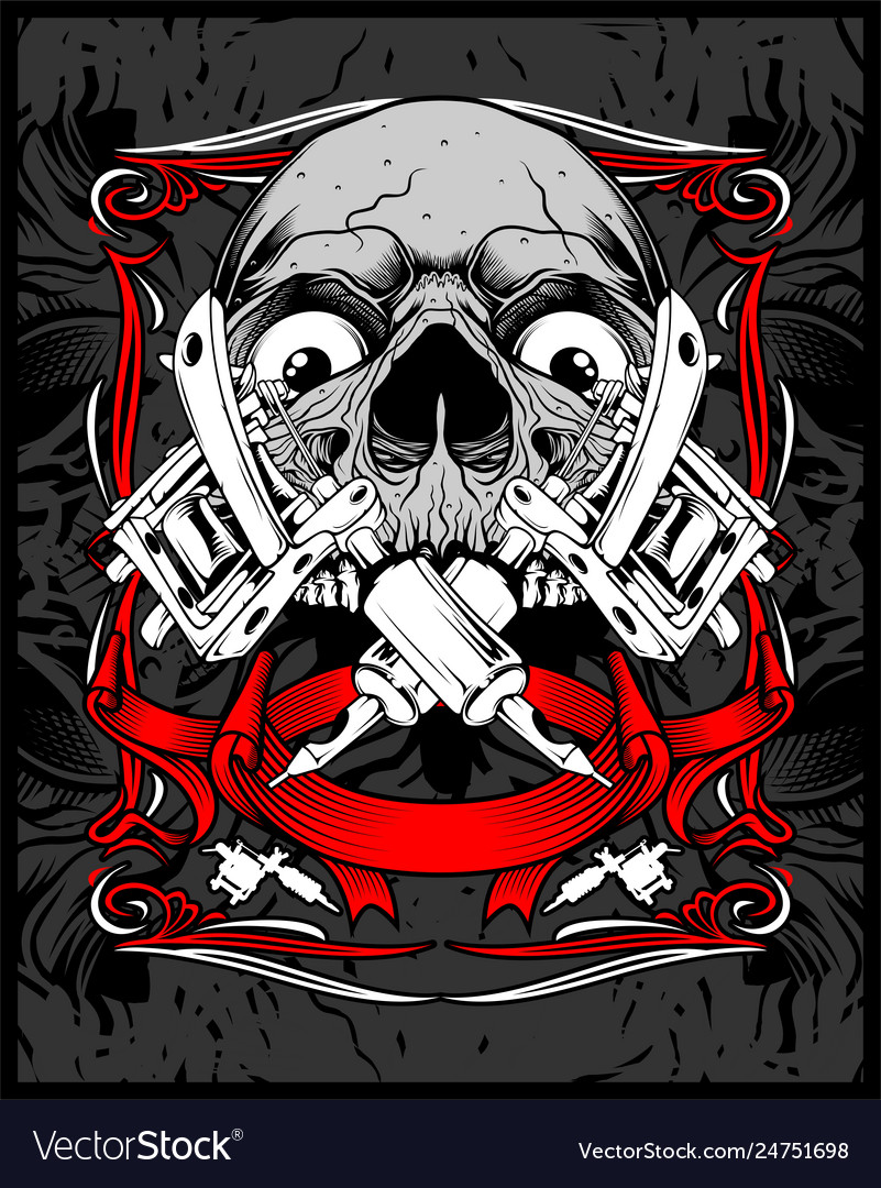 Skull tattoo hand drawing vector