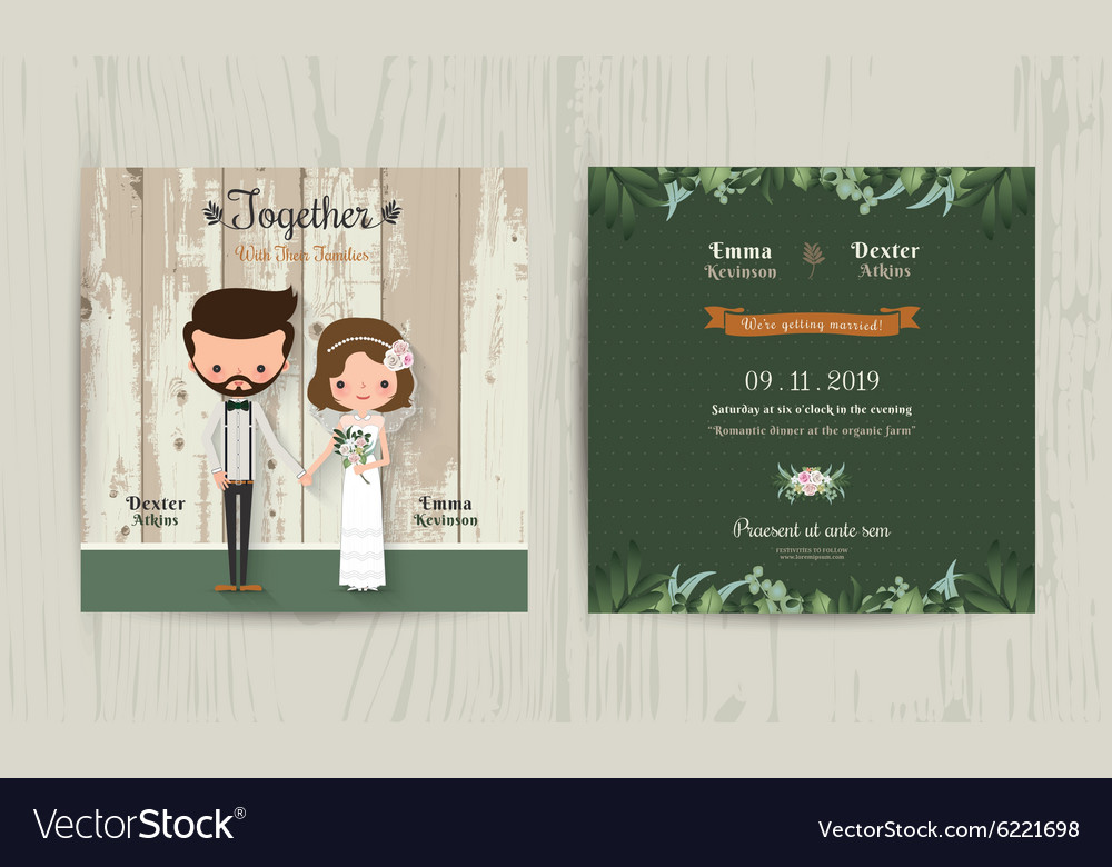 Wedding Invitation Card Cartoon Hipster Bride And
