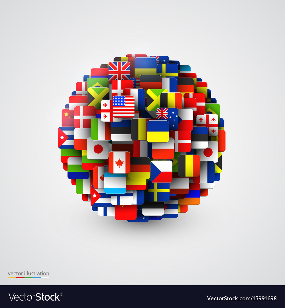 World flags in form of sphere