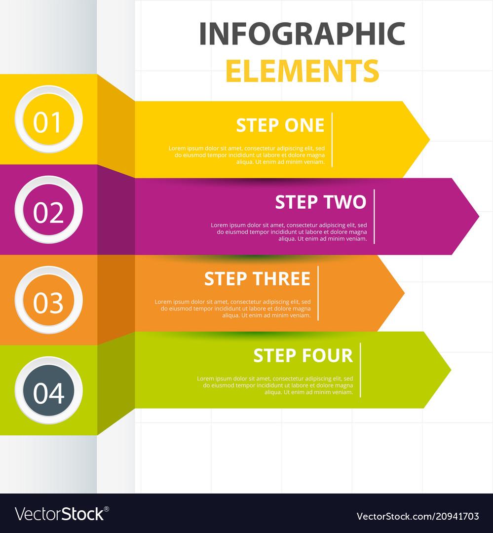 Arrow infographic elements template four colors ve vector image