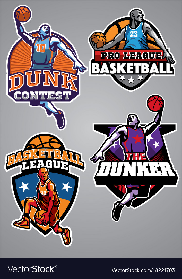 Basketball badge design collection vector image