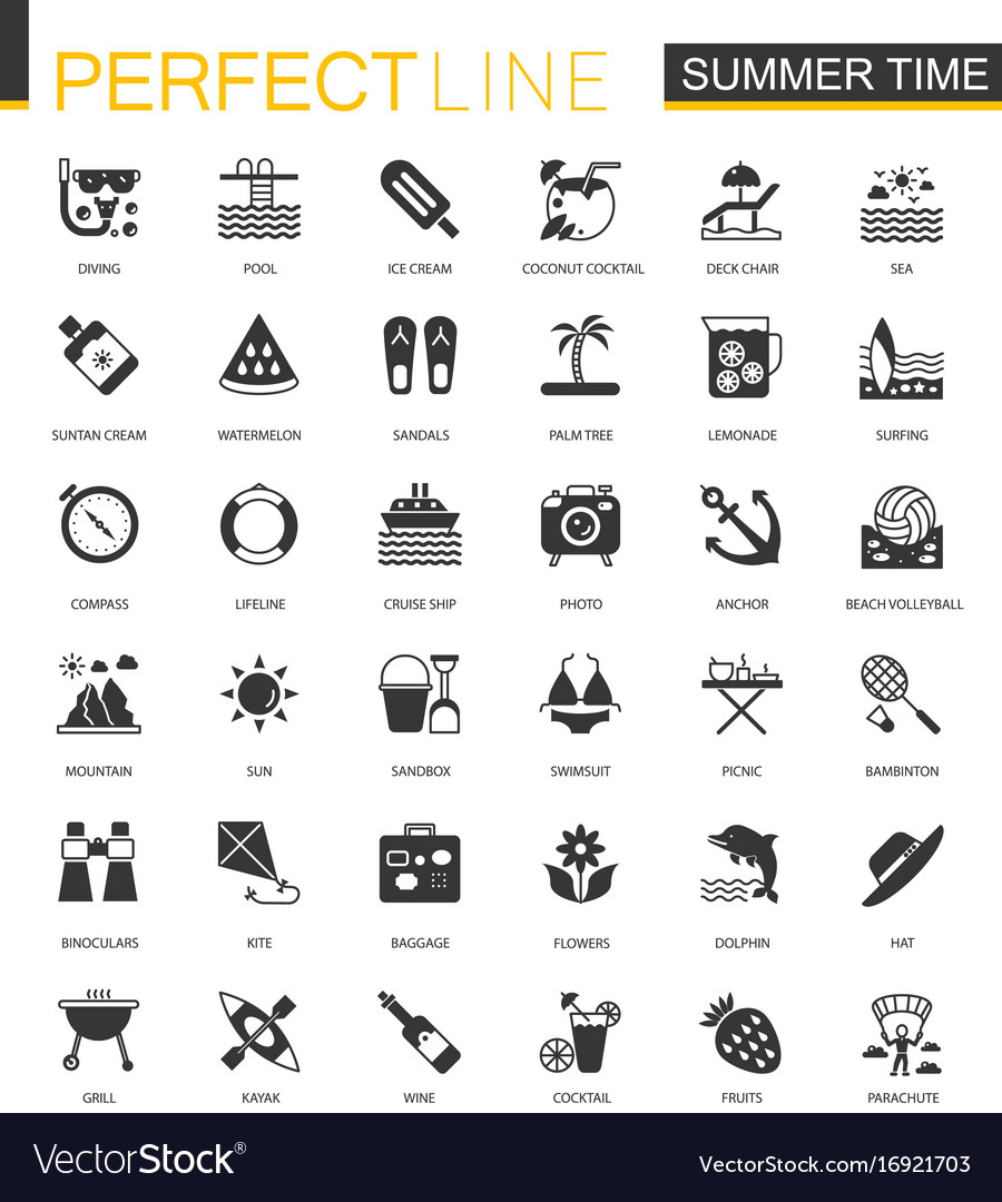 Black classic summer time vacation activity icons