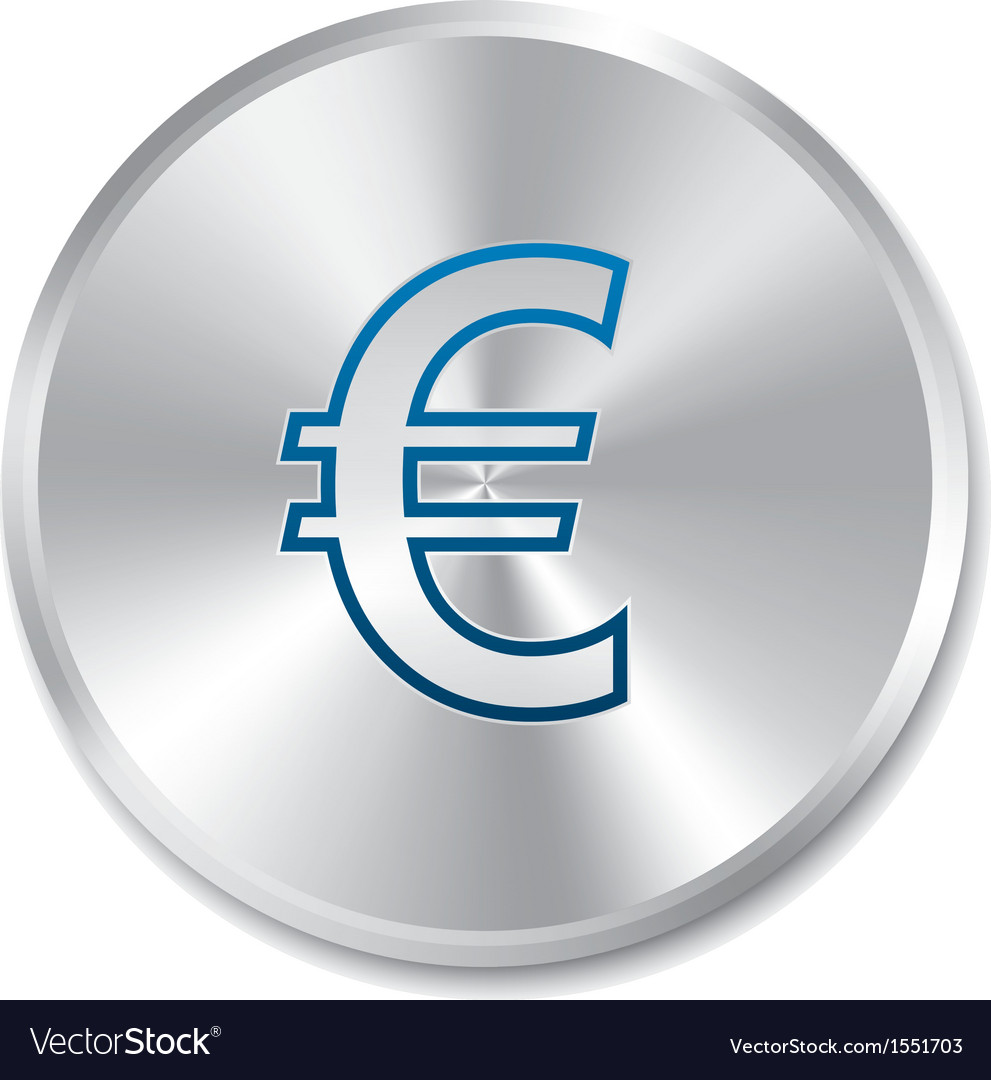 Euro silver sign Isolated currency icon vector image