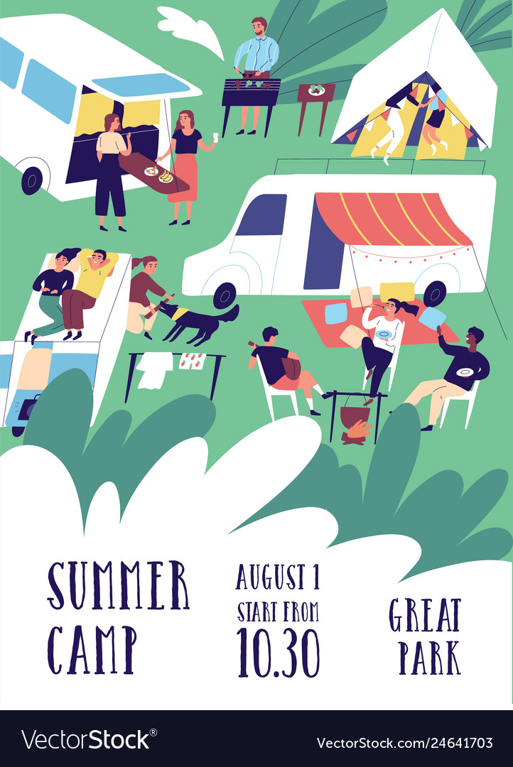 Flyer or poster template for summer camp festival