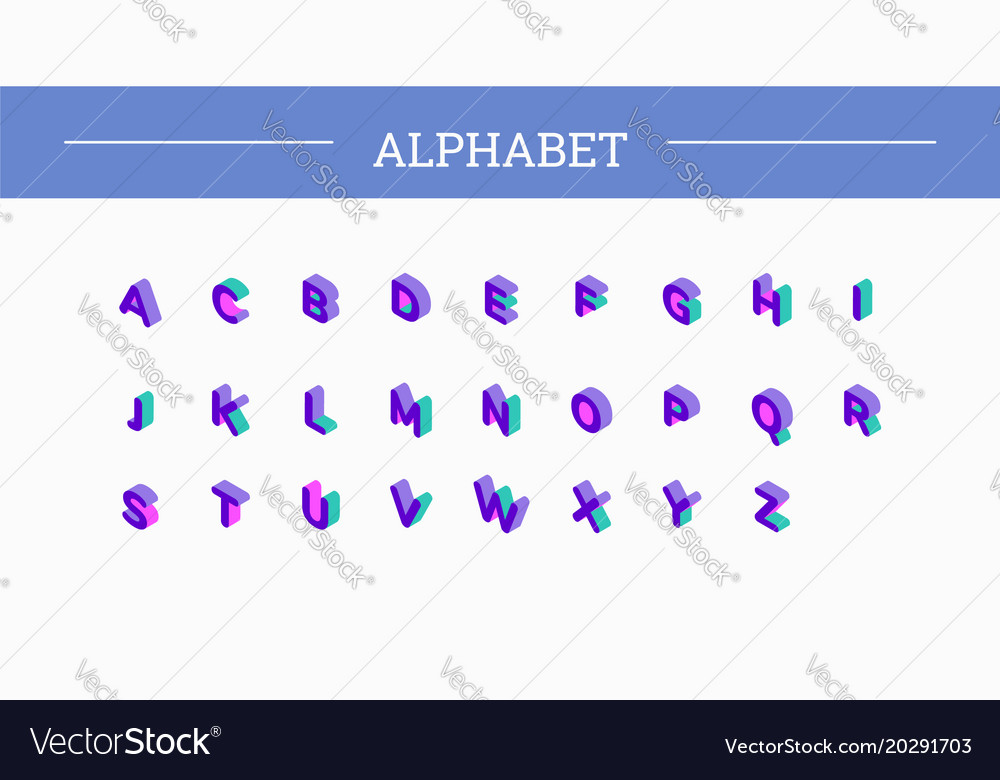 Font isometric set 3d