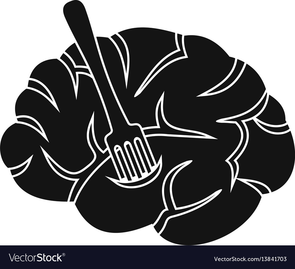 Fork is inserted into the brain icon simple style vector image