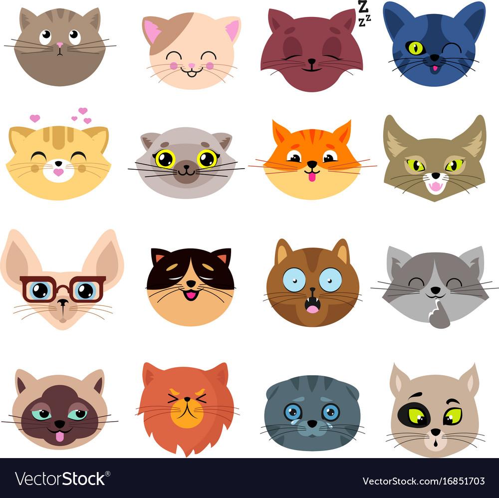 fun cartoon cat faces cute kitten portraits vector image