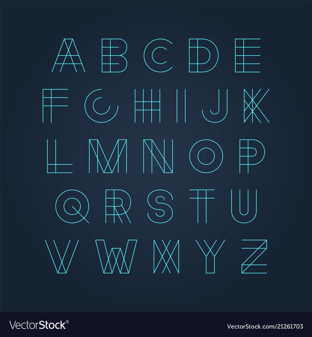 Futuristic luminous font - minimal design