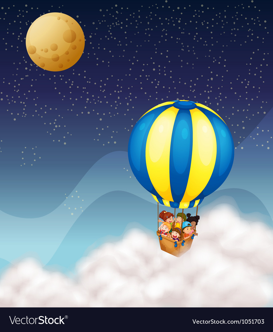 Kids in hot air balloon vector image
