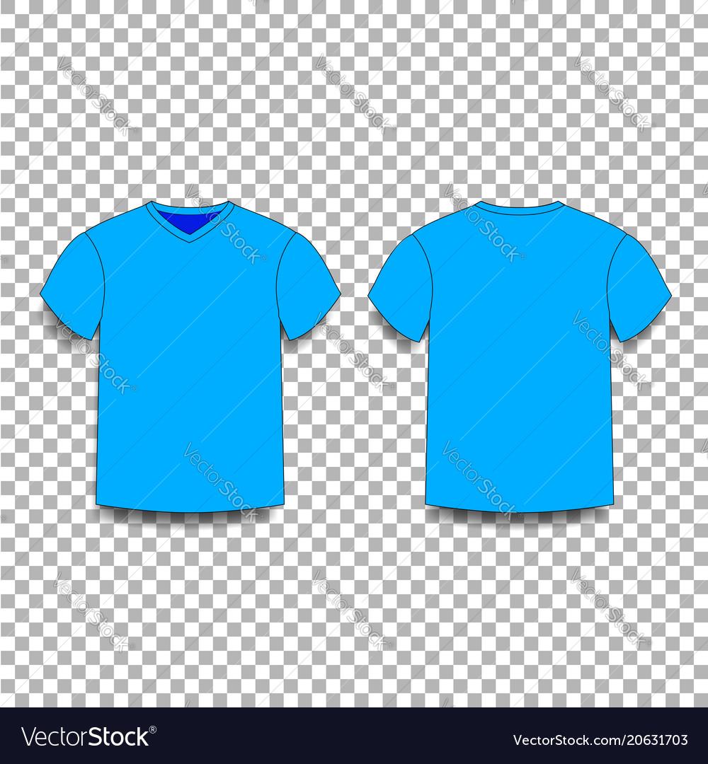 Light Blue Men S T Shirt Template V Neck Front Vector Image
