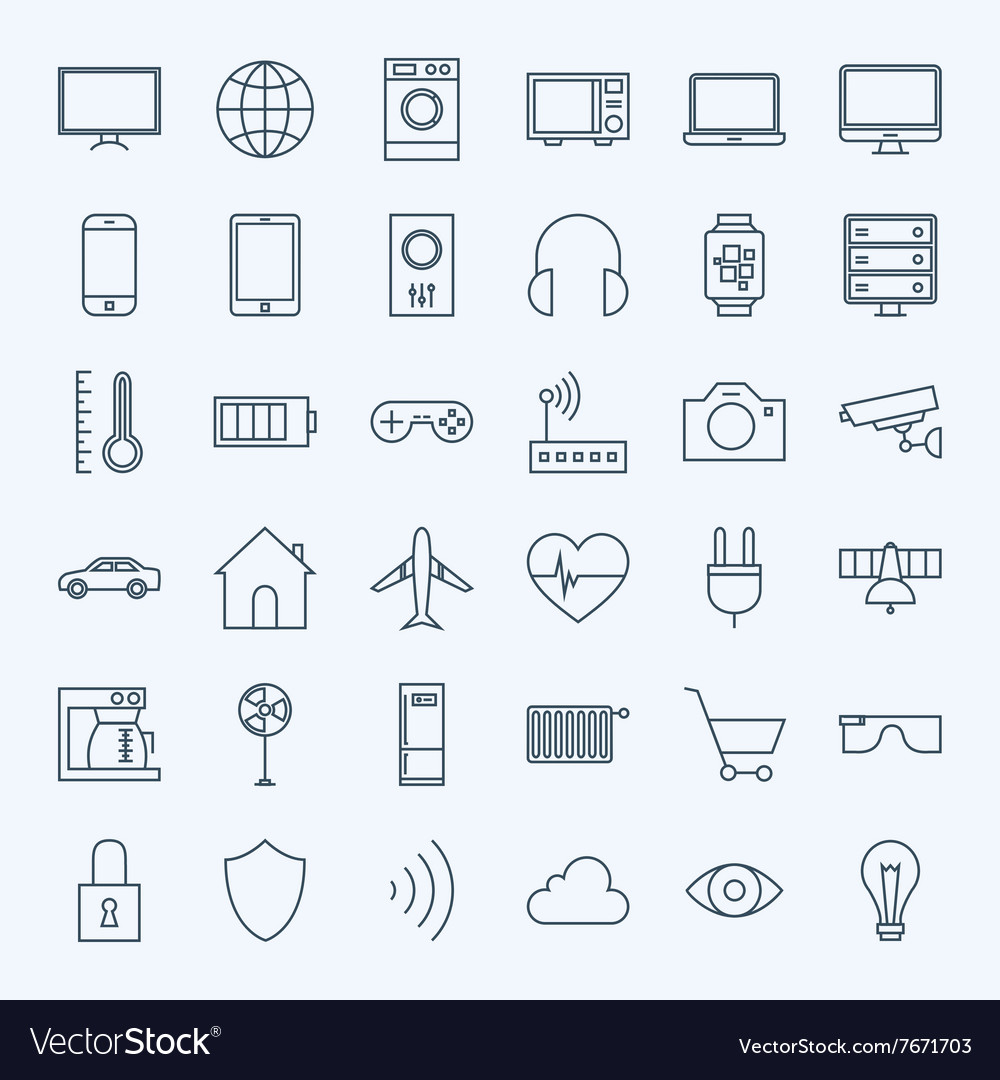 Line Internet of Things Icons Set