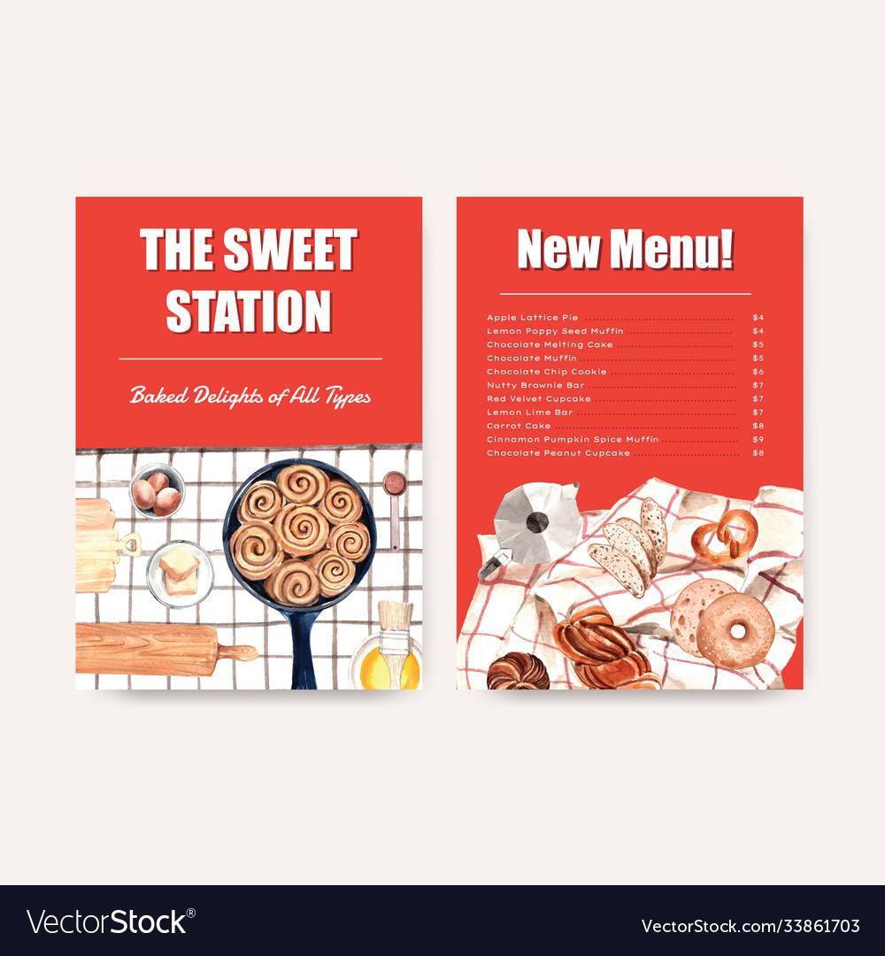 Menu bakery template design for restaurant