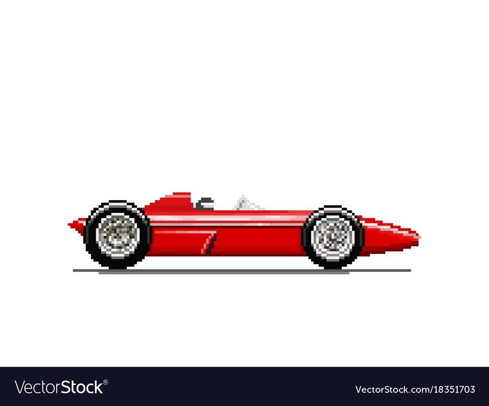 Pixel old race car Royalty Free Vector Image - VectorStock