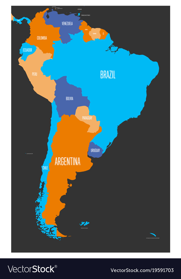 Political map of south america vector image on VectorStock