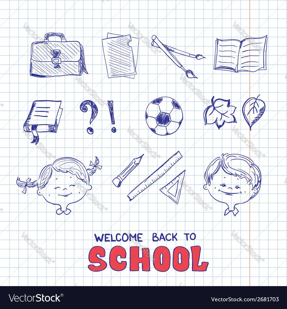 School objects sketch style