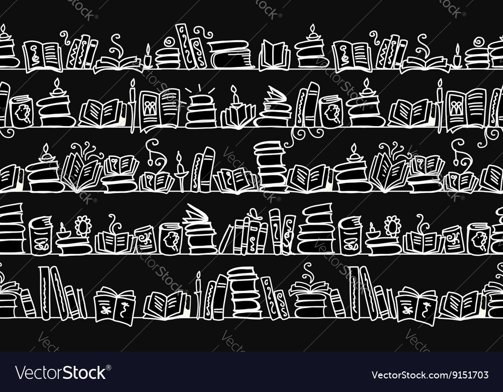 Seamless pattern with books on bookshelves sketch