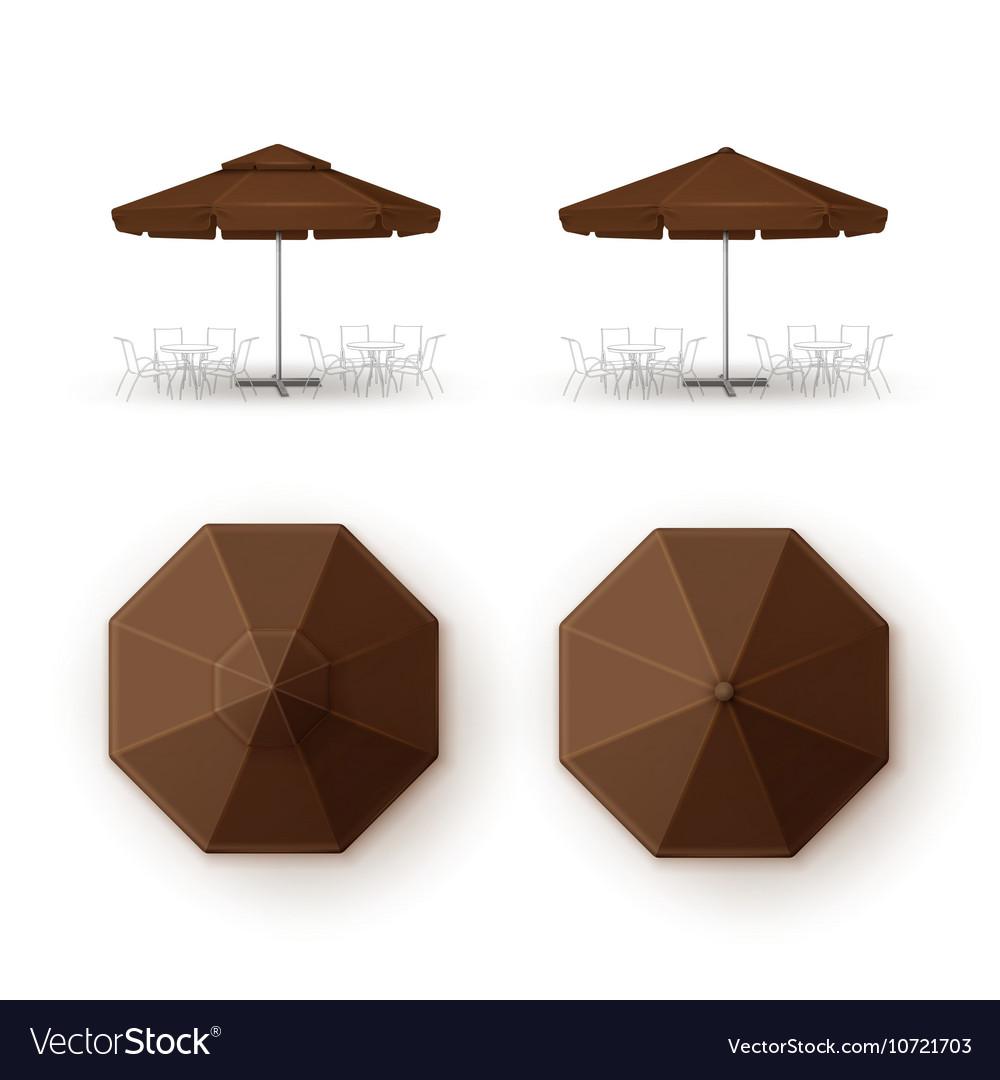 Set Of Brown Patio Outdoor Cafe Bar Round Umbrella