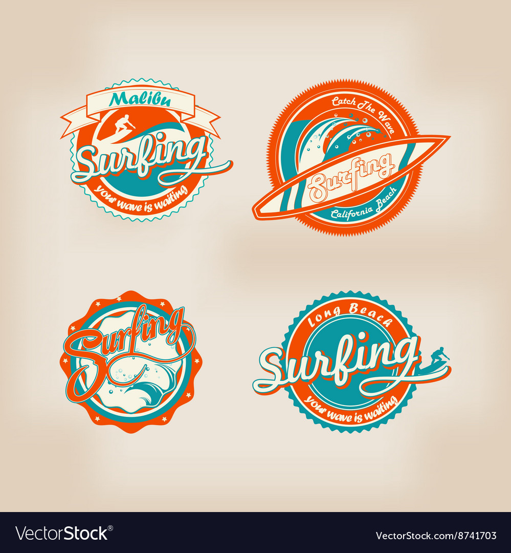 Set of retro surfing logo for t-shirt or poster