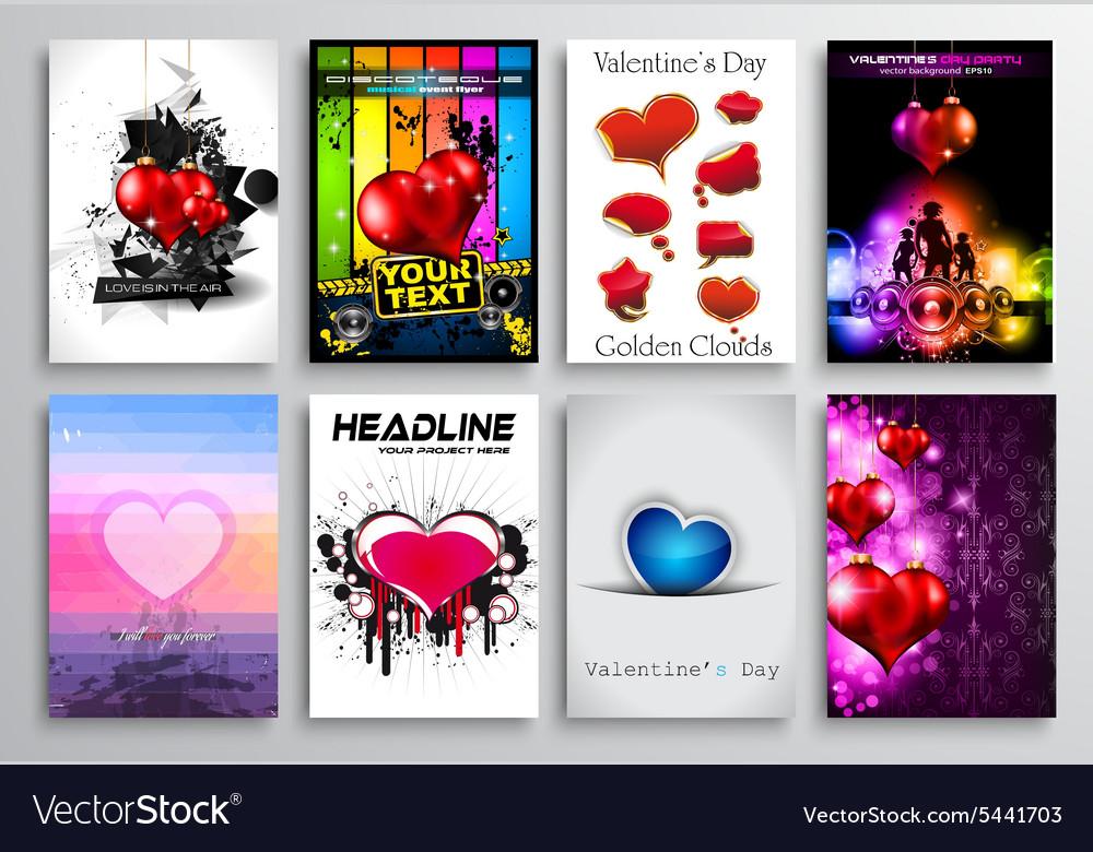 Set of Valentines Flyer Design Invitation Cards