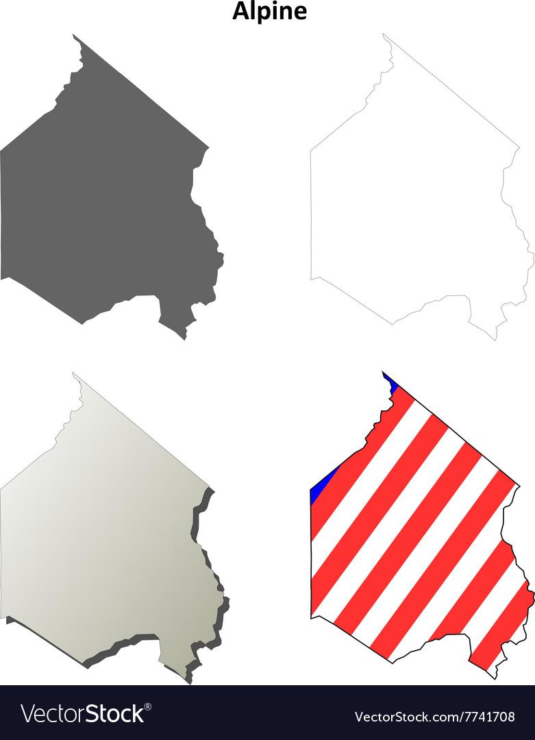 Alpine County California Outline Map Set Vector Image