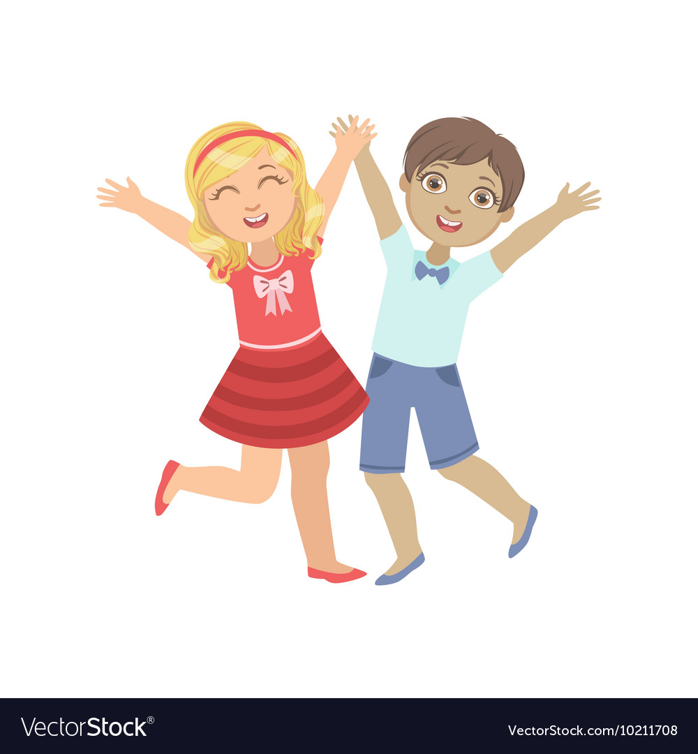 Boy And Girl Holding Hands Jumping vector image