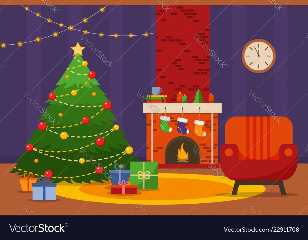 Christmas room interior christmas tree armchair