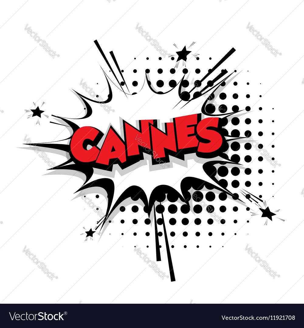 Comic text Cannes sound effects pop art