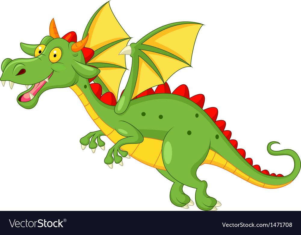 Cute dragon cartoon flying Royalty Free Vector Image