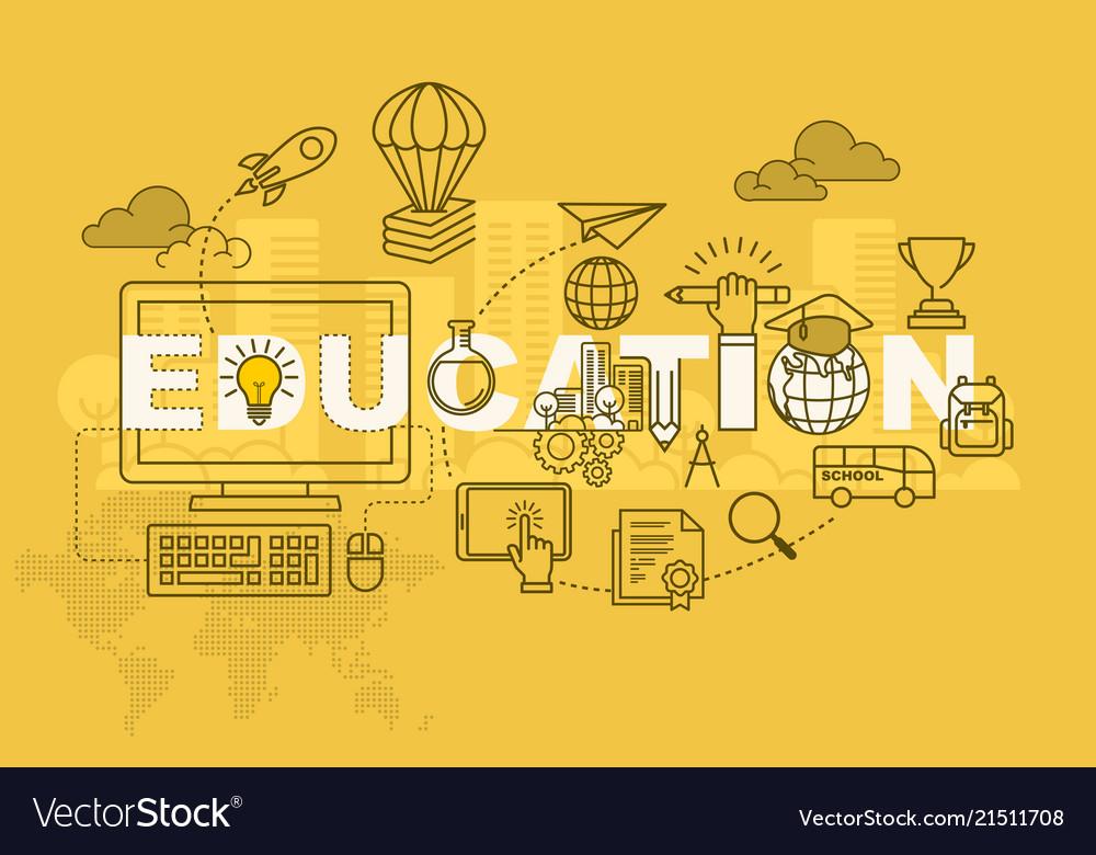 Education Banner Background Design Concept Vector Image