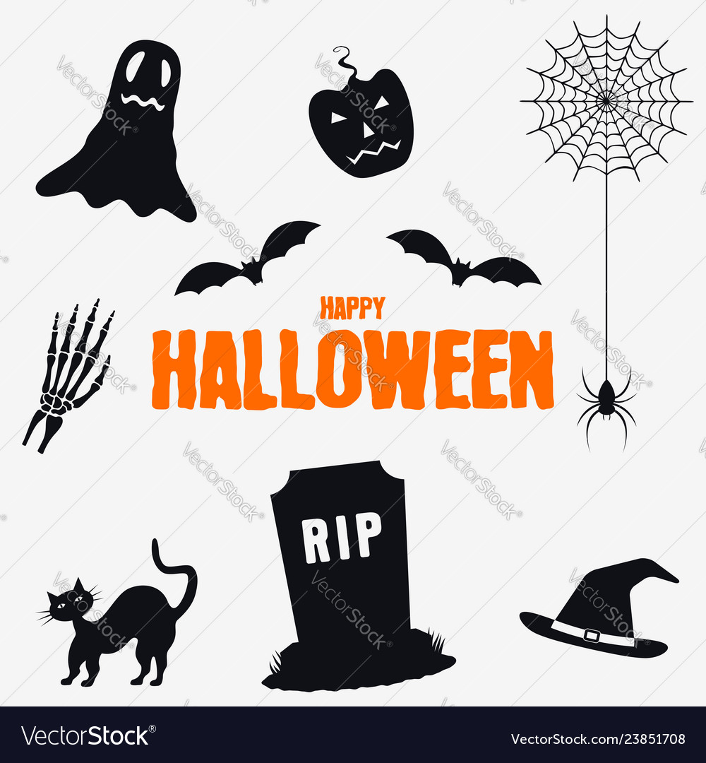 Happy halloween - decorations elements set