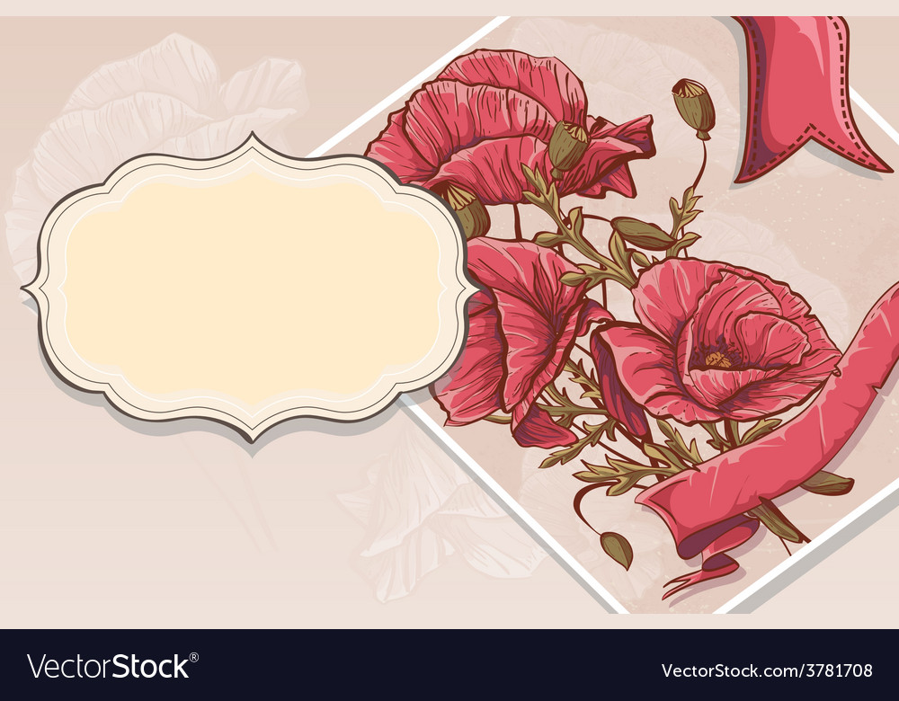 Invitation greeting card with red poppies