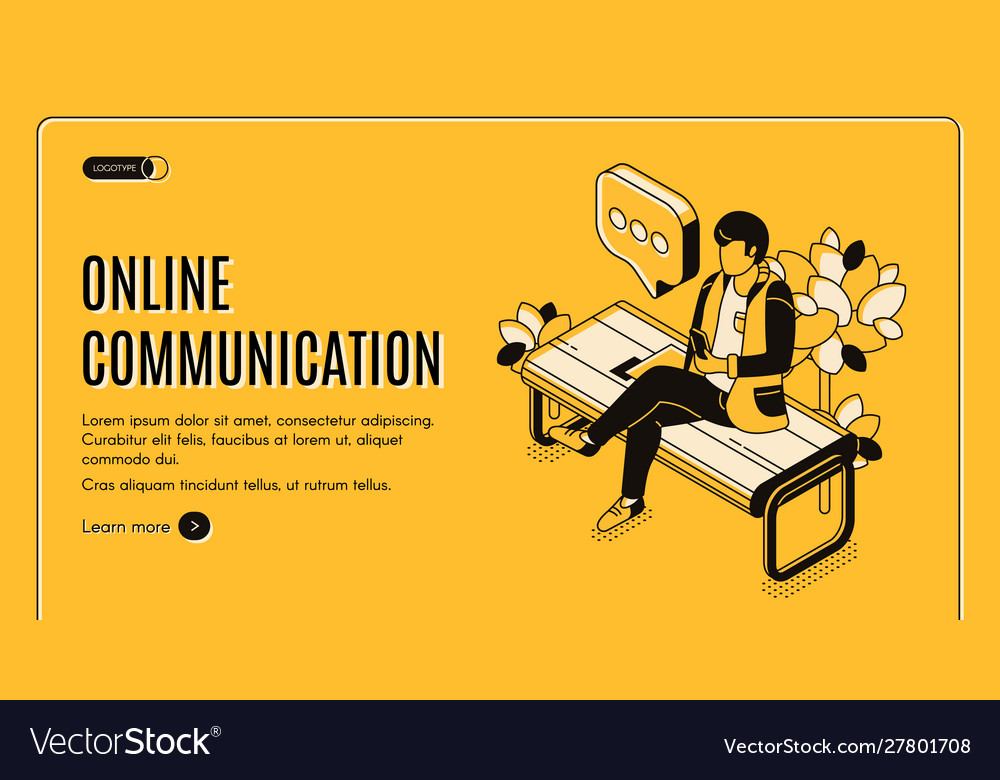 Online communication isometric landing page banner