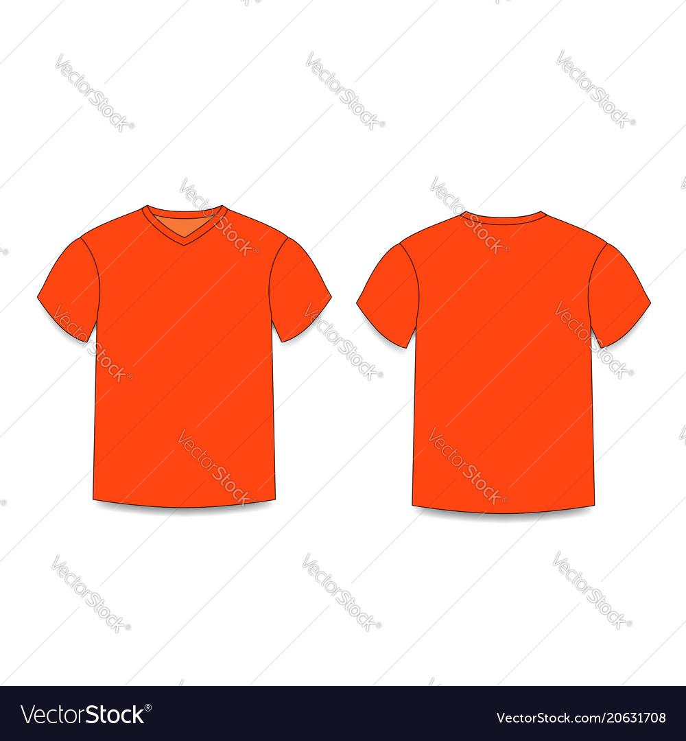 025c310e Orange men s t-shirt template v-neck front and Vector Image